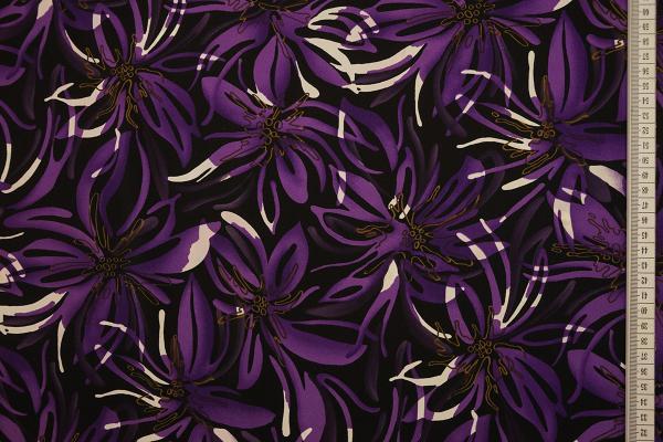 Tkanina sukienkowa - fioletowe kwiaty na czarnym tle
