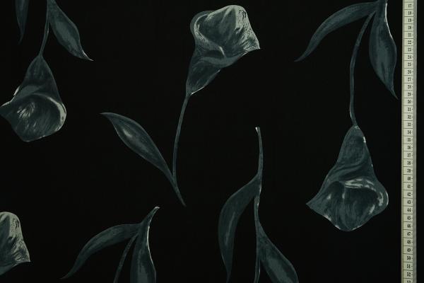 Tkanina sukienkowa - grafitowe kwiaty, czarne tło