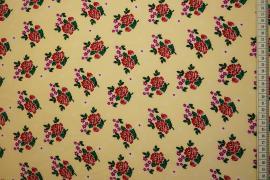 Tkanina sukienkowa - róże na waniliowym tle