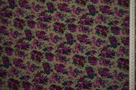 Tkanina sukienkowa - amarantowe kwiaty, beżowe tło