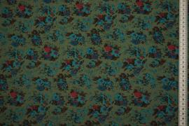 Tkanina sukienkowa - turkusowe kwiatki, zielone tło