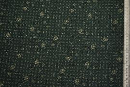 Tkanina sukienkowa - kwiaty na ciemnozielonym tle