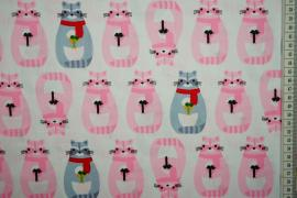 Bawełna drukowana - różowe i szaroniebieskie szopy