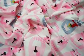 Bawełna drukowana w kolorze ecru w różowe i szaroniebieskie szopy