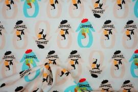 Bawełna drukowana w łososiowe i niebieskie króliki