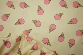 Bawełna drukowana w jasnożółtym kolorze w różowe lody