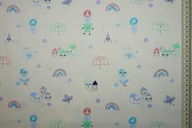 Bawełna drukowana w kolorze ecru w dziecięcy wzór