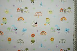 Bawełna drukowana - parasole, domki, tęcza