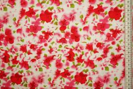 Bawełna drukowana - czerwone i różowe kwiaty