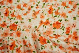 Bawełna drukowana w pomarańczowe kwiaty