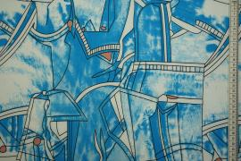 Tkanina sukienkowa w niebieskie wzory