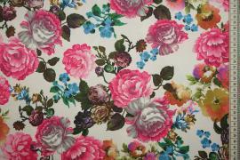 Dzianina sukienkowa w duże wielokolorowe kwiaty