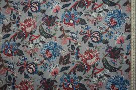 Tkanina sukienkowa w duże niebiesko-czerwone kwiaty