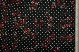 Tkanina szyfonowa w białe kropki i czerwone kwiaty