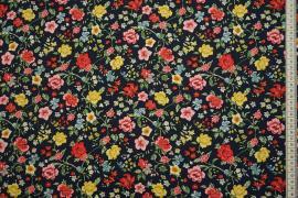 Tkanina sukienkowa w kolorze granatowym w wielokolorowe kwiaty