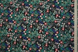 Tkanina sukienkowa w kolorze czarnym w wielokolorowe kwiaty