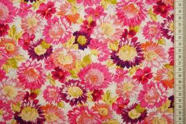 Bawełna drukowana - duże, kolorowe kwiaty