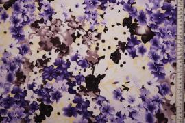 Tkanina sukienkowa w fioletowe i brązowe kwiatki