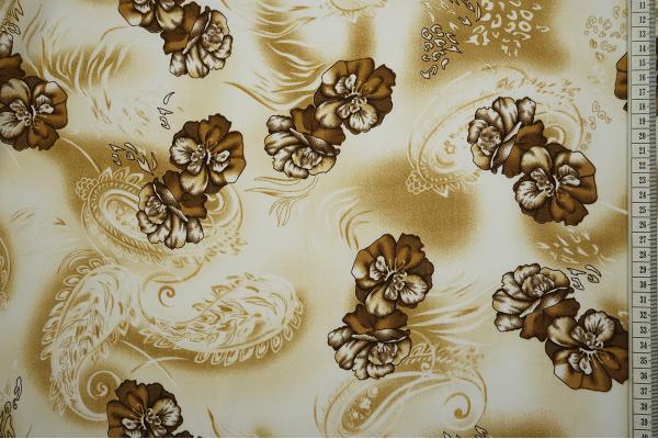 Tkanina sukienkowa w kolorze ecru w brązowe kwiaty