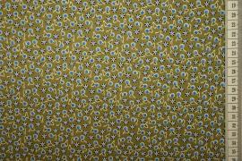 Bawełna drukowana - oliwkowe tło w niebieskie wisienki