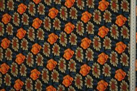 Tkanina sukienkowa w kolorze czarnym w pomarańczowe kwiaty