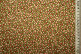 Bawełna drukowana - oliwkowe tło w czerwone wisienki