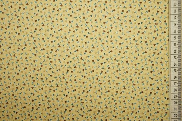 Bawełna drukowana w kolorze żółtym w żółte kwiatki