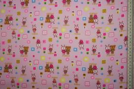 Bawełna popelina w kolorze różowym w zwierzątka