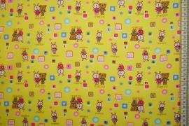 Bawełna popelina w kolorze żółtym w zwierzątka