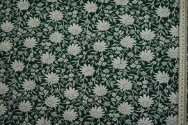 Bawełna popelina w kolorze zielonym w kwiaty