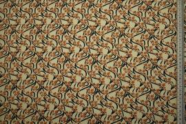 Bawełna popelina - brązowe i czarne wzory
