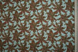 Bawełna popelina - kwiaty na turkusowym tle