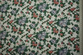 Bawełna popelina - kwiaty na białym tle