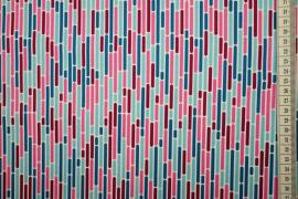 Bawełna drukowana w kolorowe linie