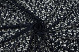 Koronka w geometryczny wzór - kolor granatowy