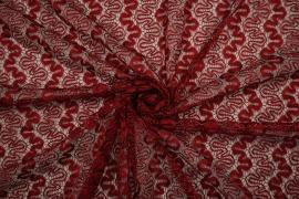 Koronka w kolorze czerwonym przetykana srebrną nitką