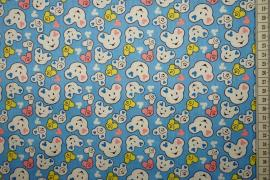 Bawełna drukowana w kolorze niebieskim w misie