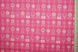 Bawełna drukowana w kolorze różowym w kwiatki