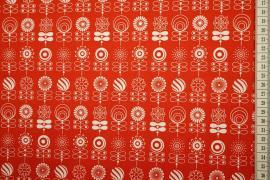 Bawełna drukowana w kolorze czerwonym w kwiatki