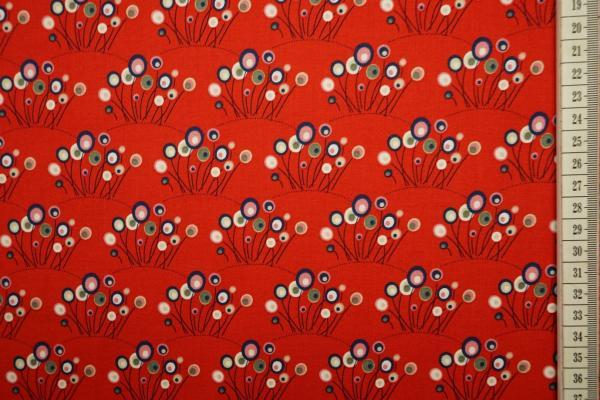 Bawełna drukowana w kolorze czerwonym w trawę