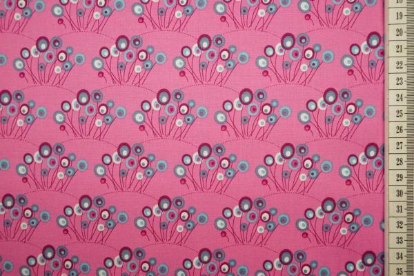 Bawełna drukowana w kolorze różowym w trawę