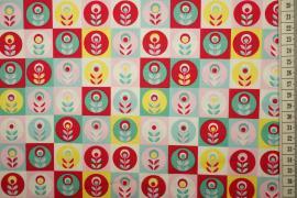 Bawełna drukowana w wielokolorowe kwiatki