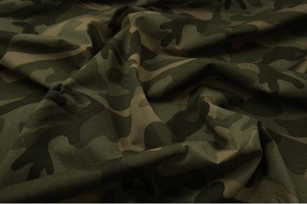 Tkanina bawełniana - kamuflaż zielono-beżowy