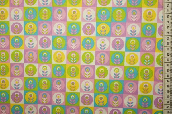 Bawełna drukowana w kolorowe kwadraty i kwiatki
