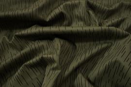 Tkanina bawełniana w kolorze khaki w linie