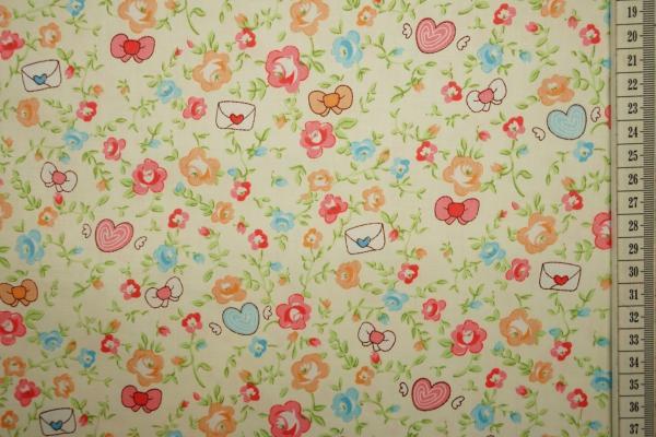 Bawełna drukowana - kwiaty, koperty i serca