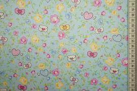 Bawełna drukowana - kwiaty, kokardki i serca na miętowym tle