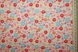 Bawełna drukowana - wielokolorowe kwiatki na jasnym tle