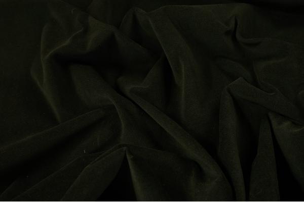 Tkanina bawełniana z aksamitnym wykończeniem w kolorze butelkowej zieleni