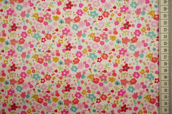 Bawełna drukowana w kolorze ecru w kolorowe kwiatki